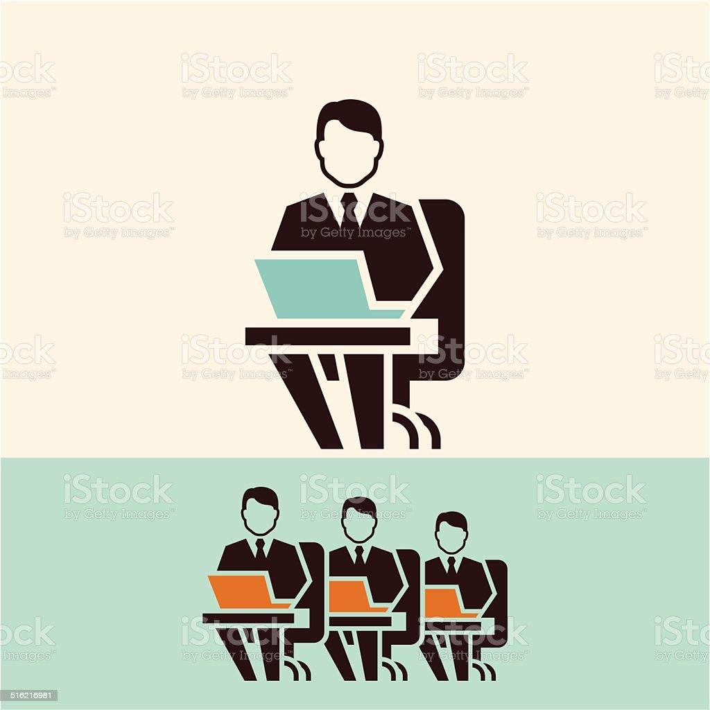 Working on computer vector art illustration