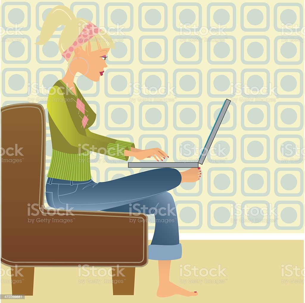 Working on the sofa royalty-free stock vector art
