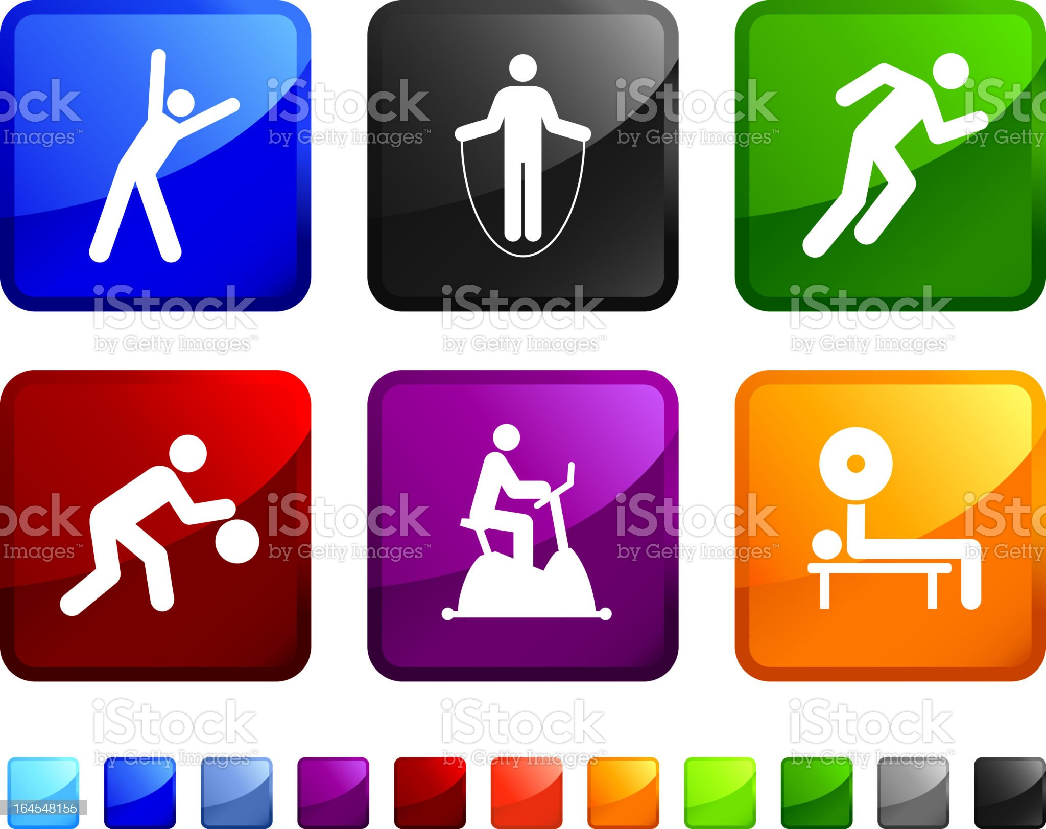 Working Out royalty free vector icon set stickers royalty-free stock vector art