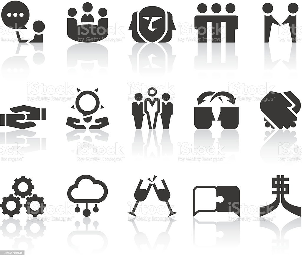 Working Partners Icons   Simple Black Series vector art illustration