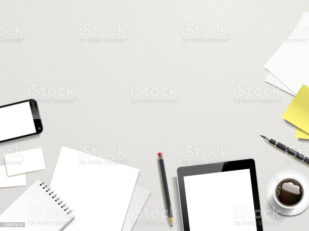 working place elements on white background vector art illustration