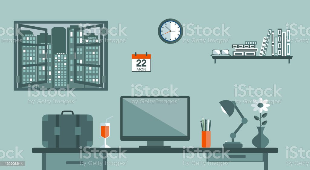 Working place of an office manager vector art illustration