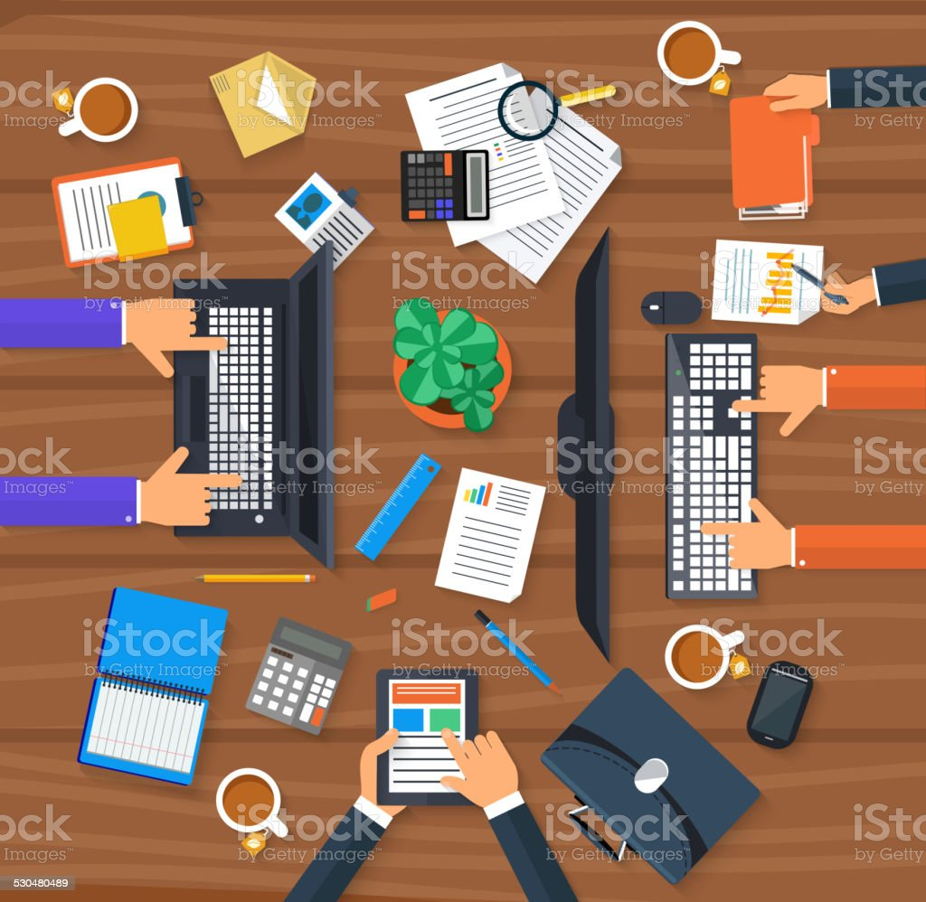 Working process of business team concept vector art illustration