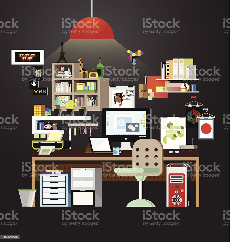 Working space in home vector vector art illustration
