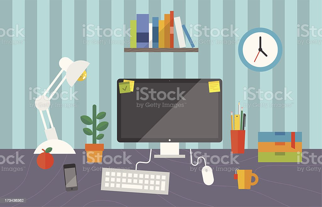 Working space in the office royalty-free stock vector art