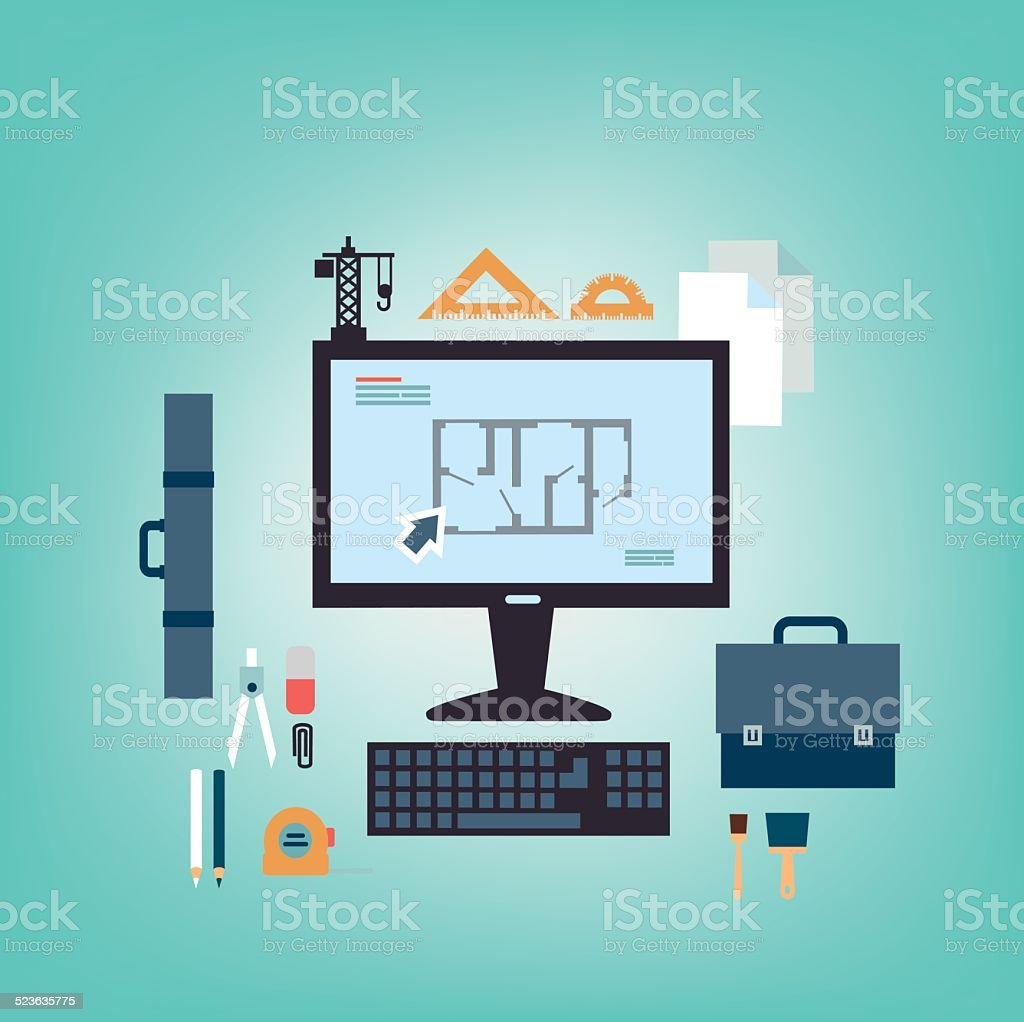 Working table of an architect vector art illustration