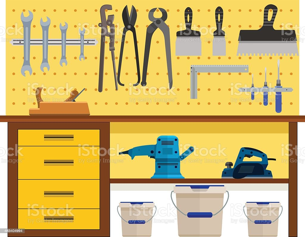 Working table with spanner planer scissors palette knife pincers vector art illustration