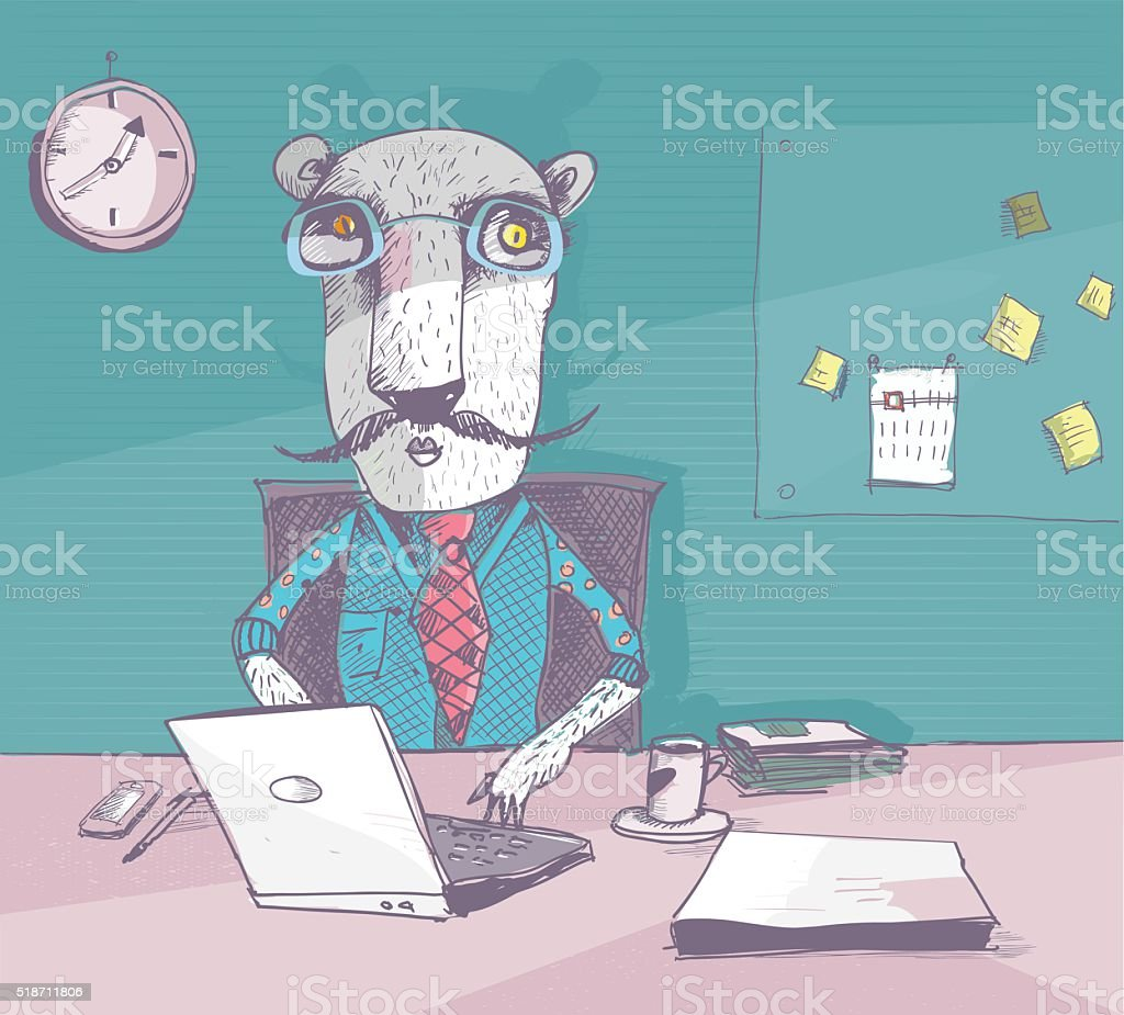 working tiger with glasses in the homeoffice vector art illustration