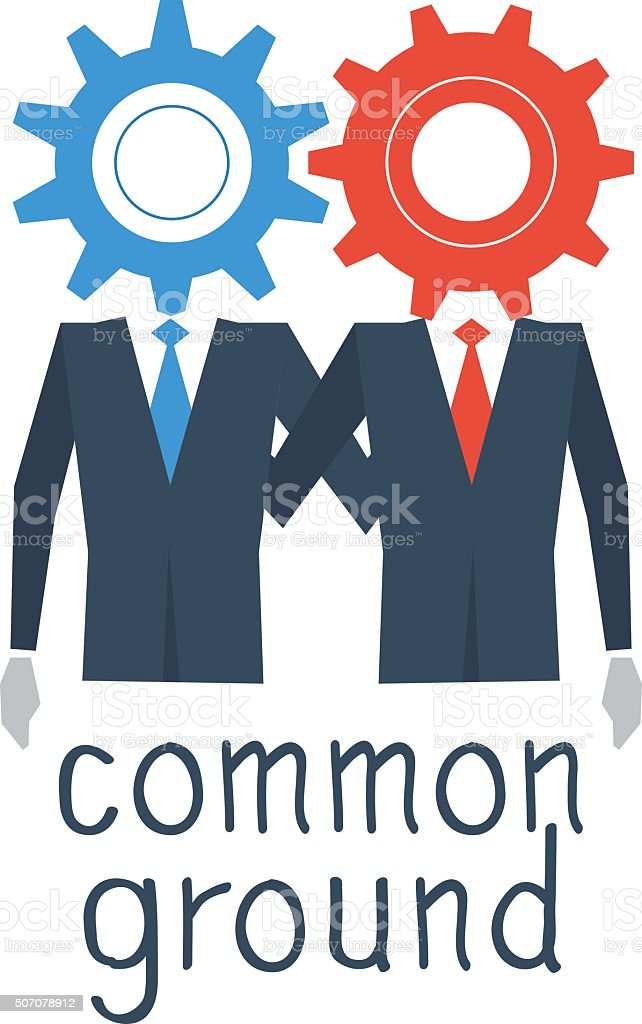 Working together, common ground vector art illustration