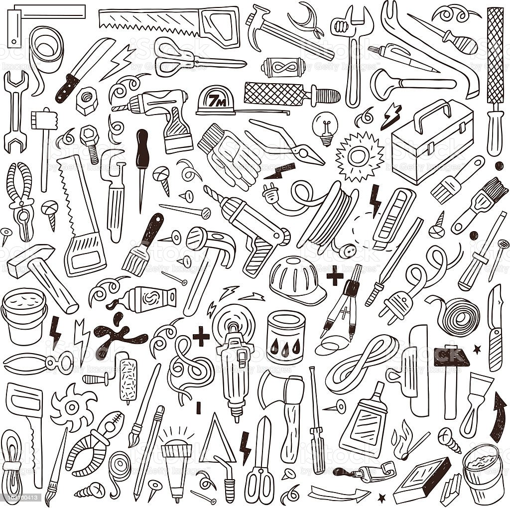 working tools - doodles collection vector art illustration