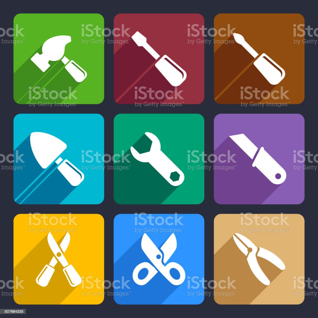 Working tools flat icon set 12 royalty-free stock vector art