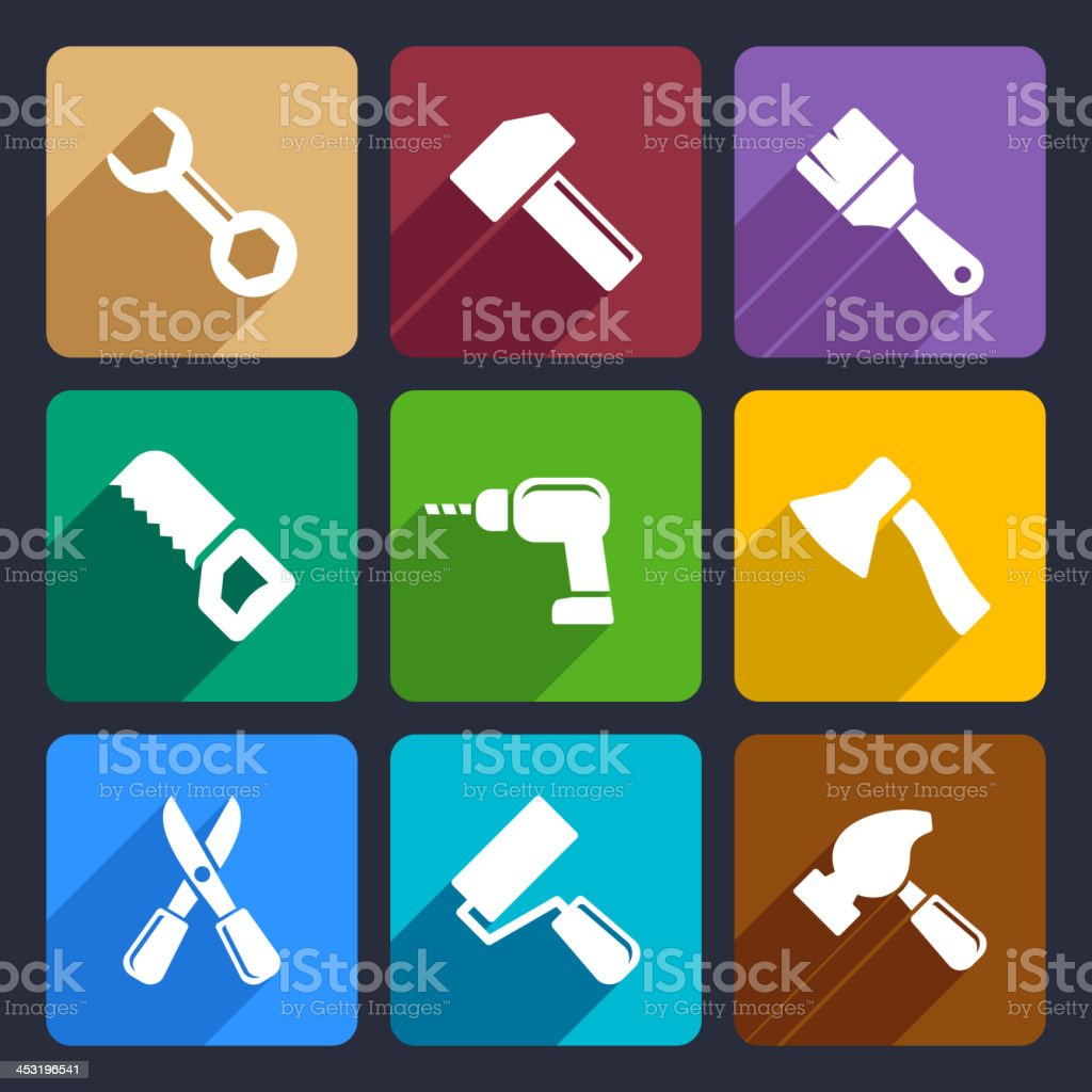 Working tools flat icon set 13 royalty-free stock vector art