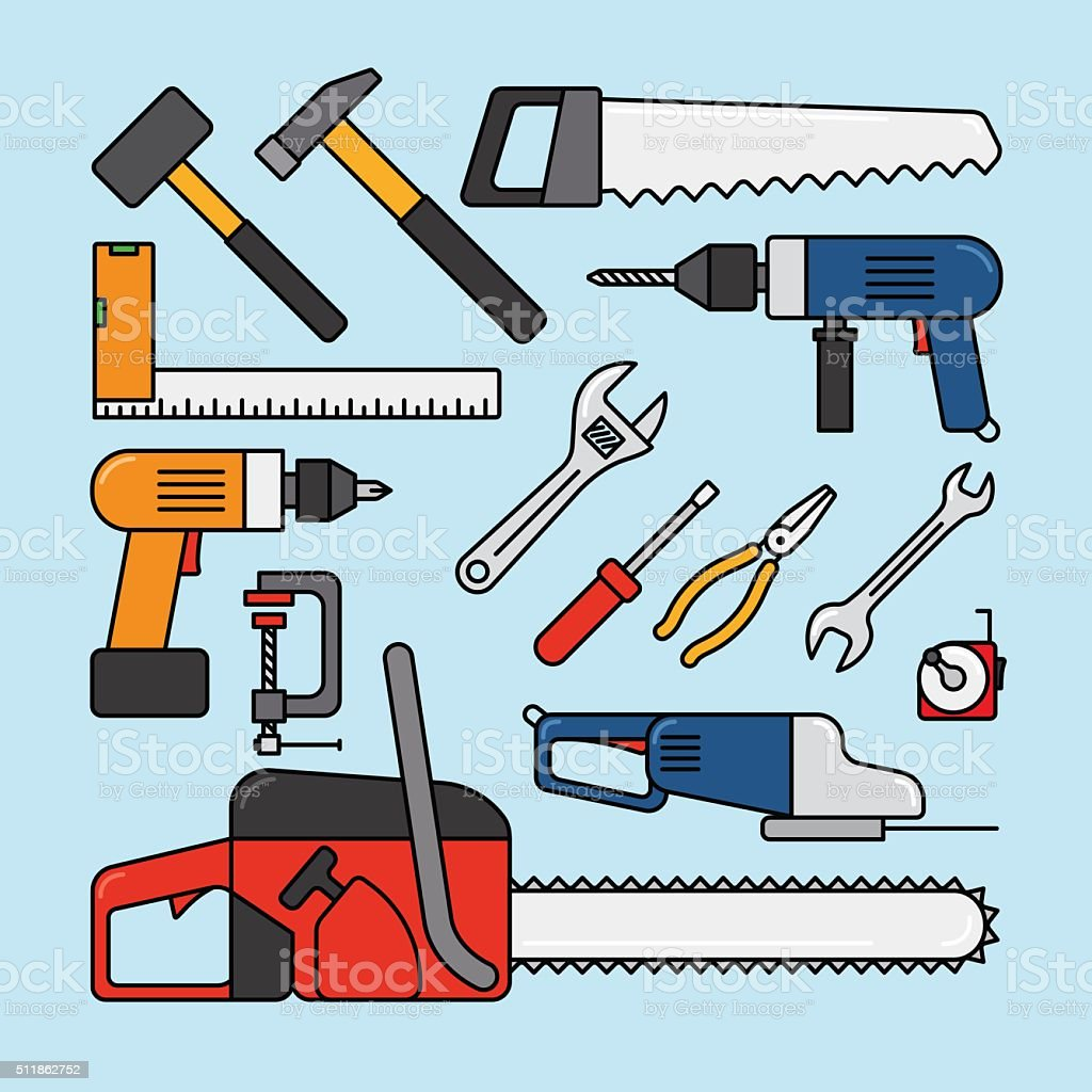 Working tools icons vector art illustration