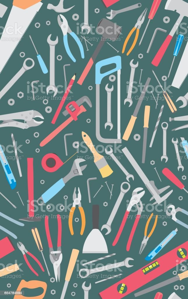 Working tools pattern vector art illustration