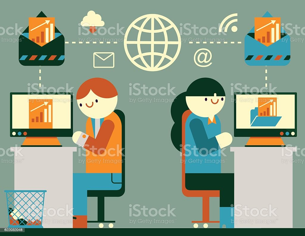Working with Email vector art illustration