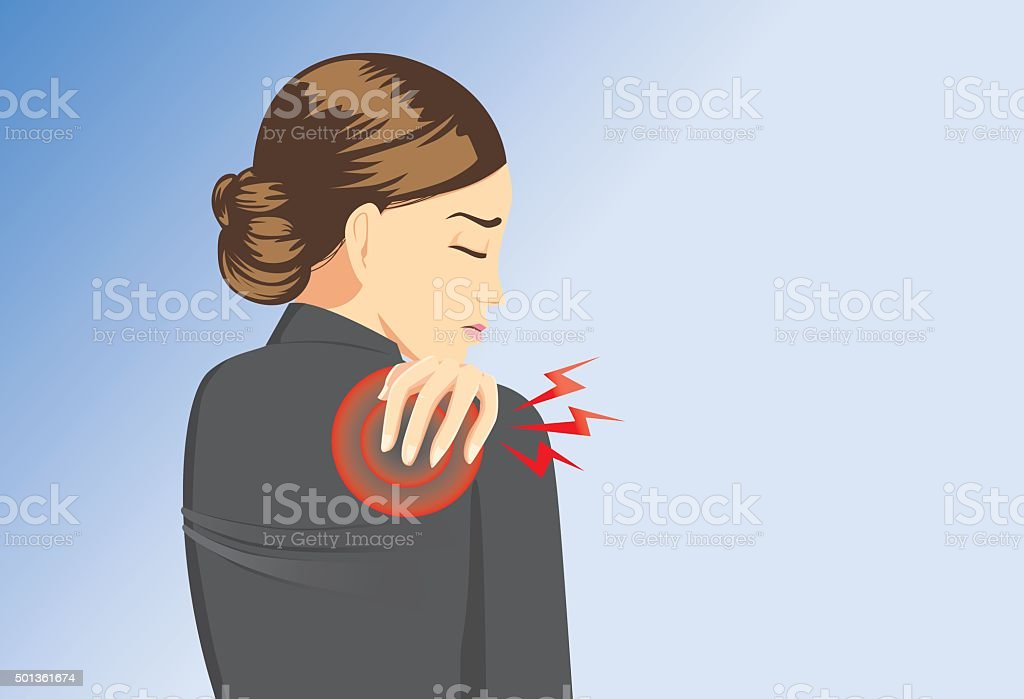 Working woman back pain vector art illustration