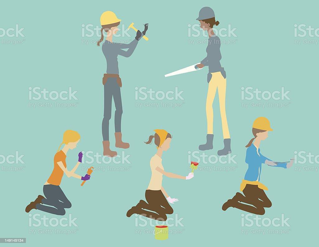 Working Women royalty-free stock vector art
