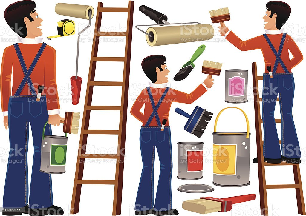 Workman and DIY painting items vector art illustration