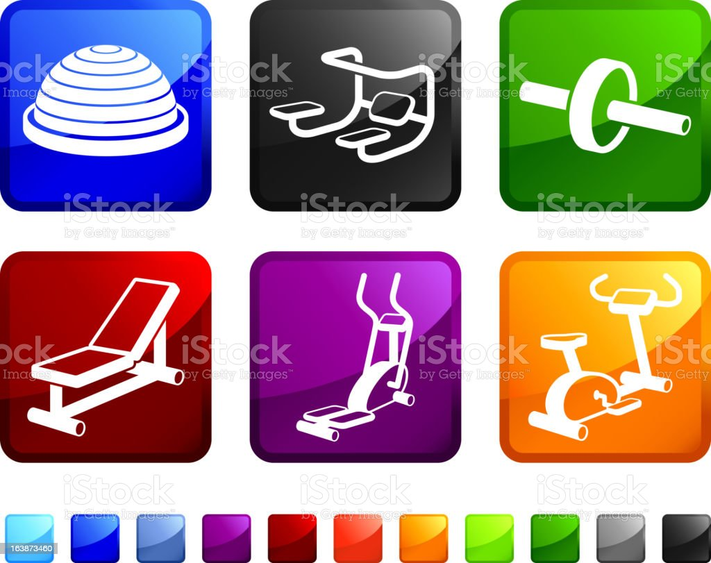 Workout Equipment royalty free vector icon set stickers vector art illustration