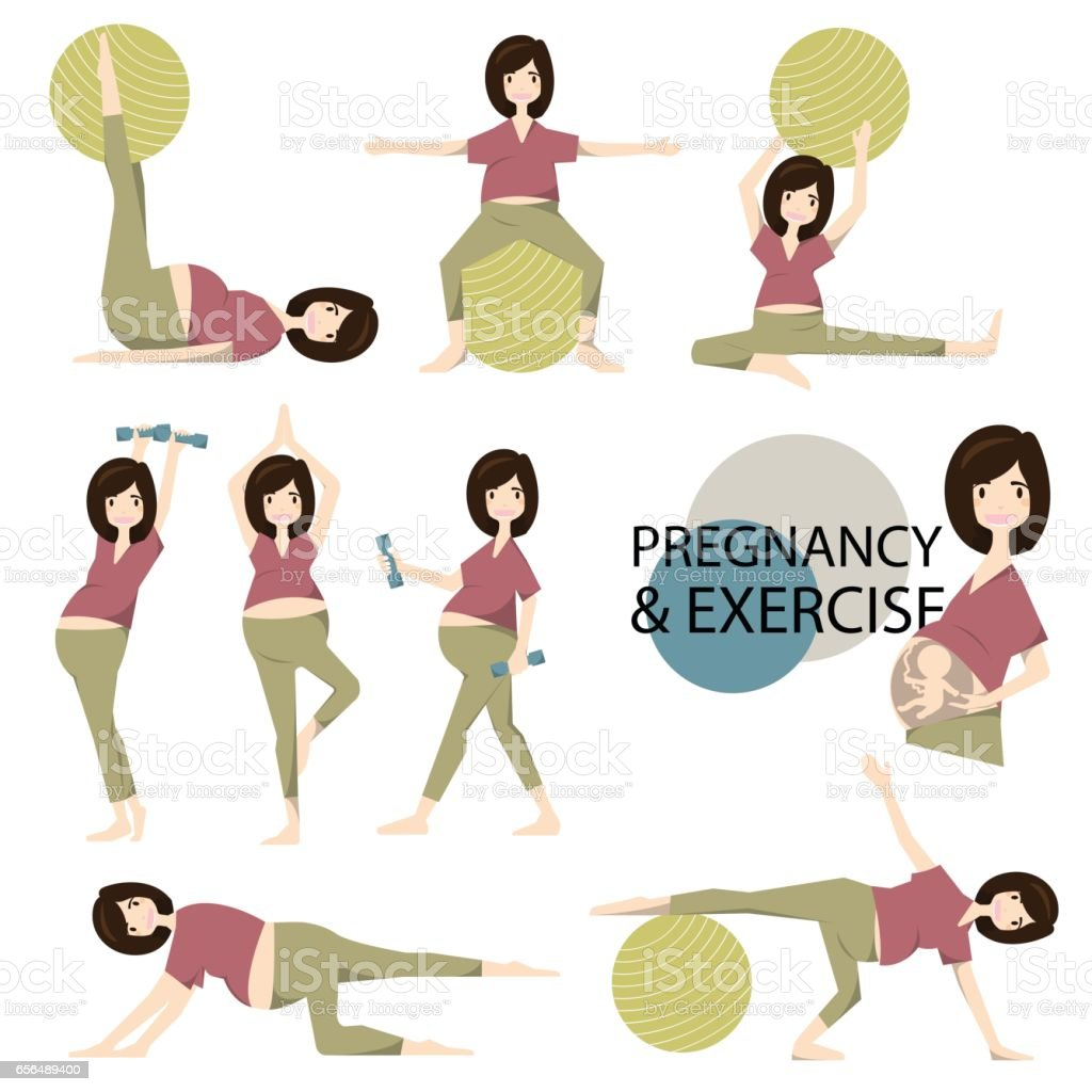 Workout for pregnant set. Yoga training for healthy pregnancy.vector/illustration vector art illustration