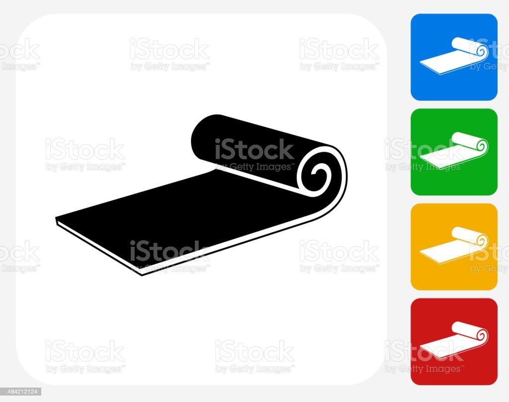 Workout Mat Icon Flat Graphic Design vector art illustration