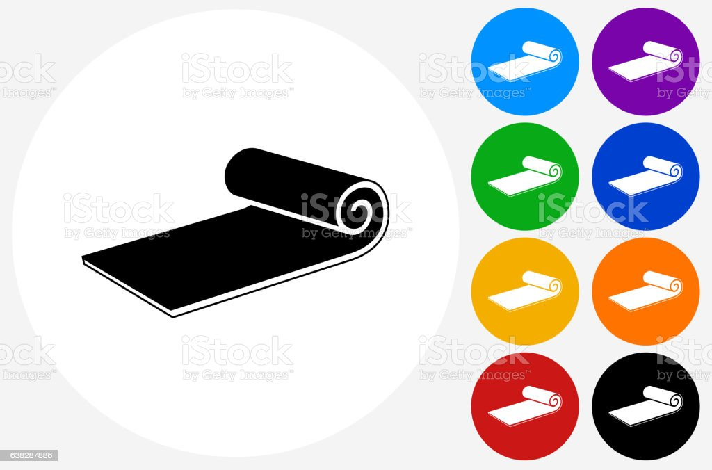 Workout Mat Icon on Flat Color Circle Buttons vector art illustration