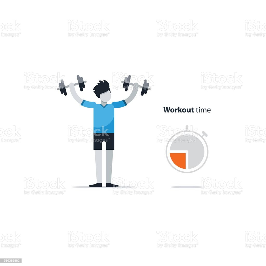 Workout session, daily exercises, fitness time, dumbbell push-ups vector art illustration