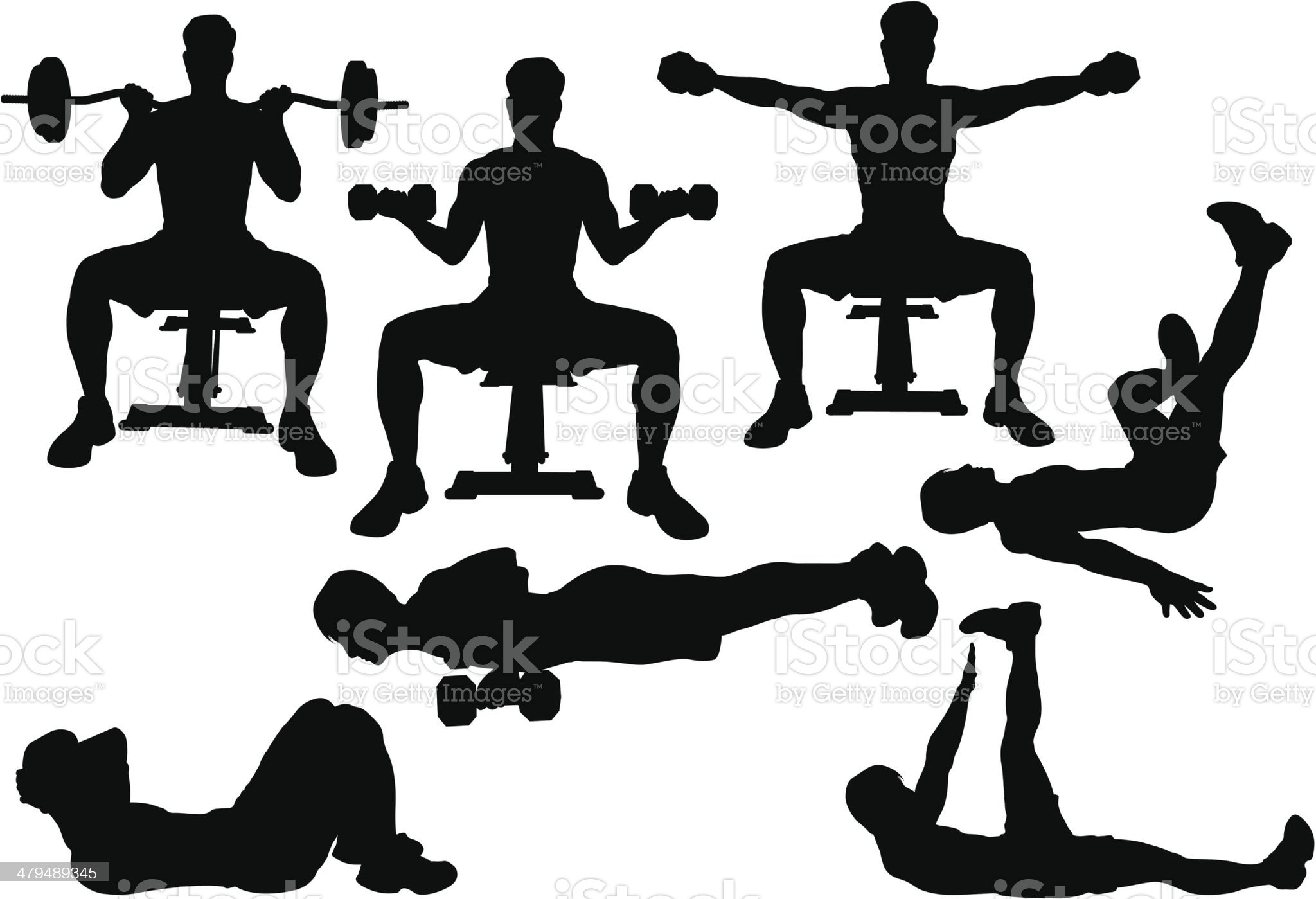 Workout Silhouette royalty-free stock vector art