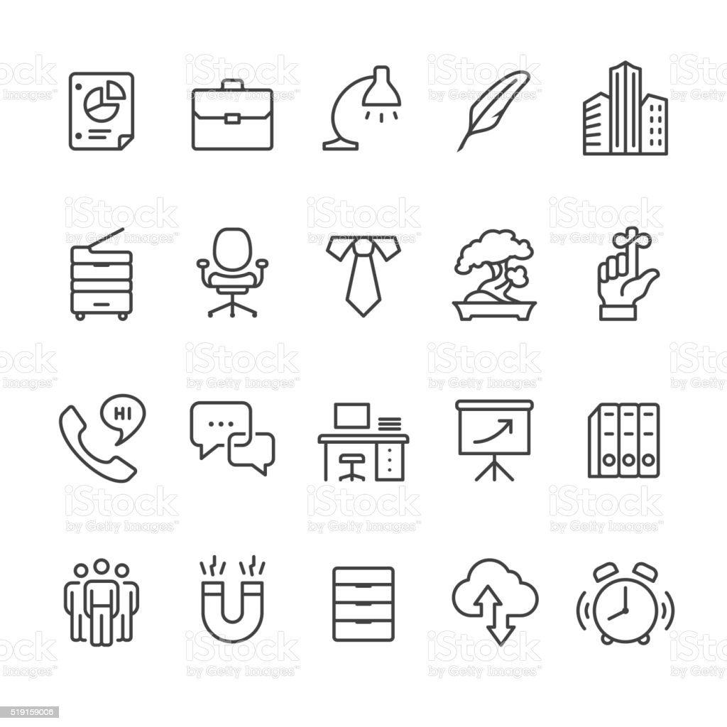 Workplace and Office vector icons vector art illustration
