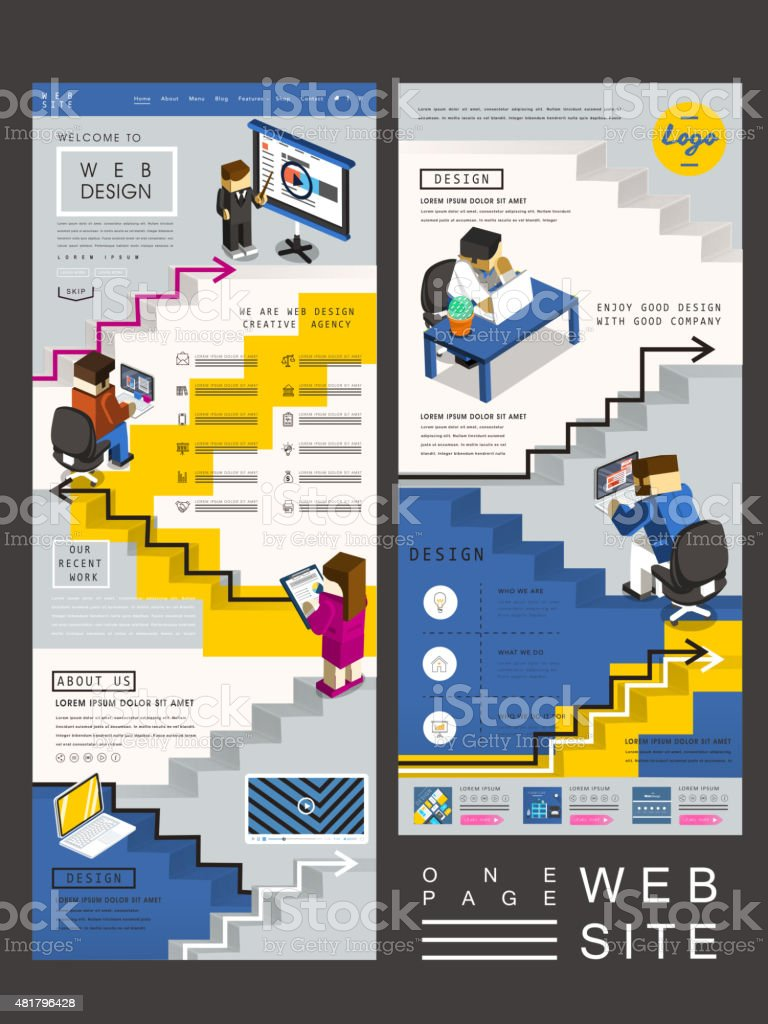 workplace concept one page website design vector art illustration