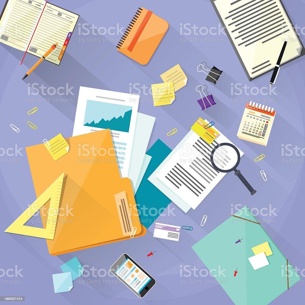 Workplace Desk Documents Papers Folder Office Stuff vector art illustration