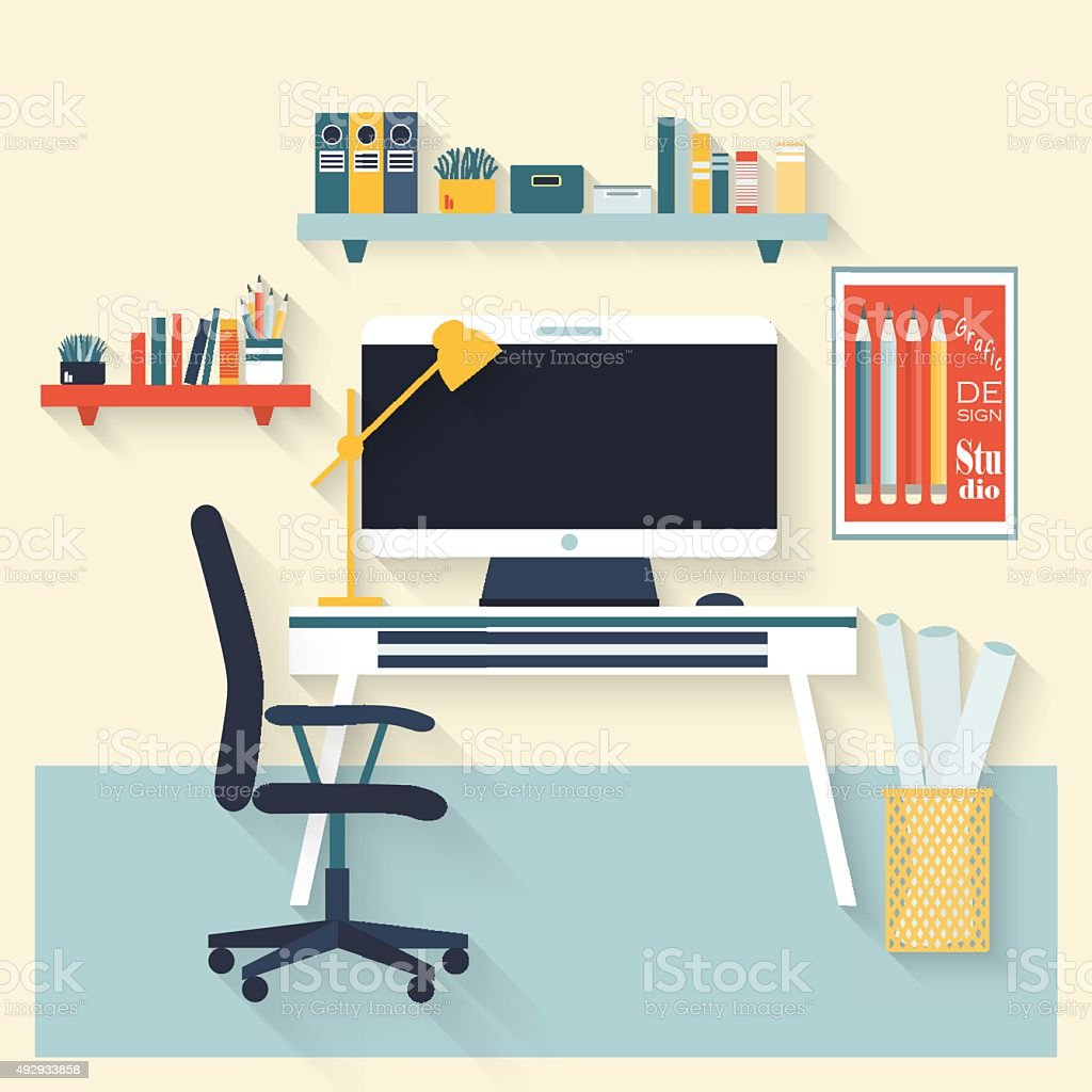 Workplace flat vector design. vector art illustration