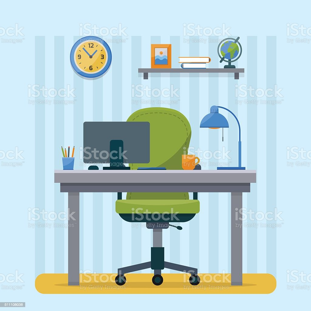 Workplace in office. vector art illustration