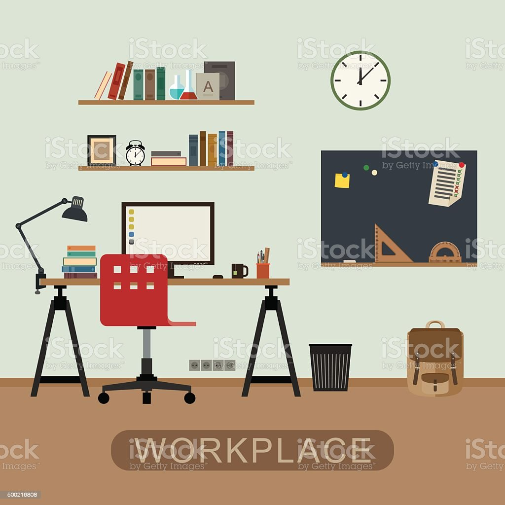 Workplace in room. vector art illustration