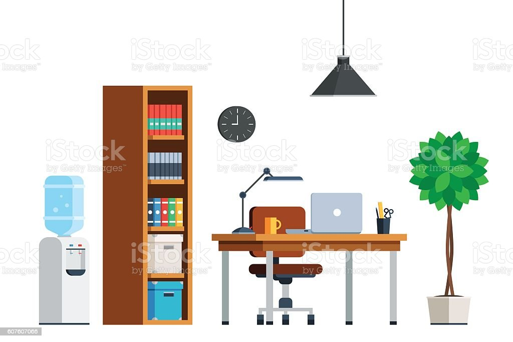 Workplace interior furniture vector art illustration