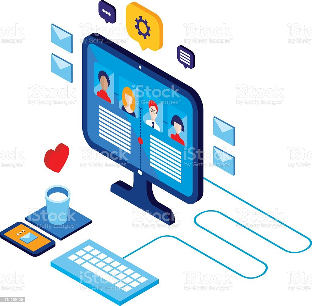 Workplace isometric elements set Social network and communication concept vector art illustration