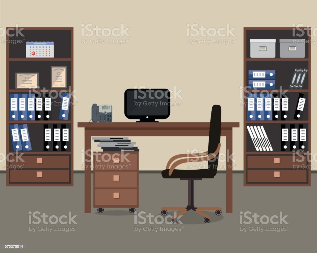 Workplace of office worker vector art illustration
