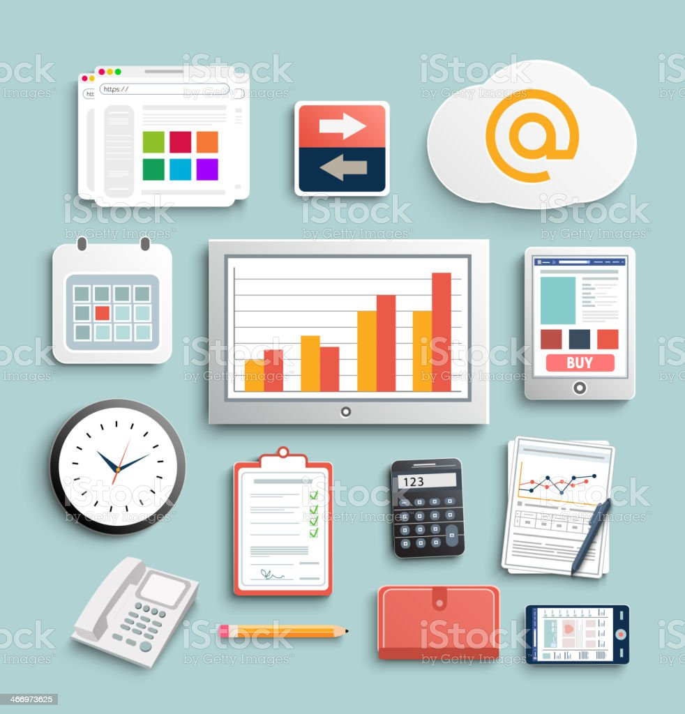 Workplace office and business work elements set vector art illustration