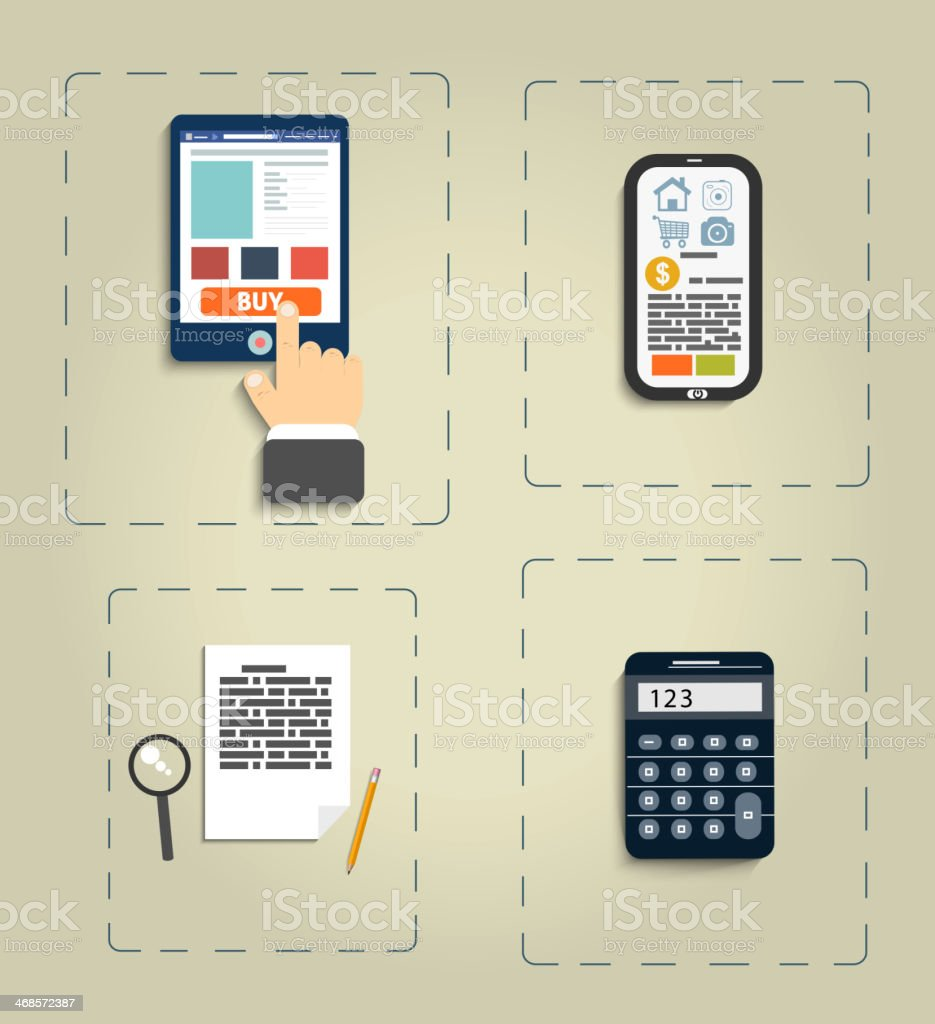 Workplace office and business work elements set royalty-free stock vector art