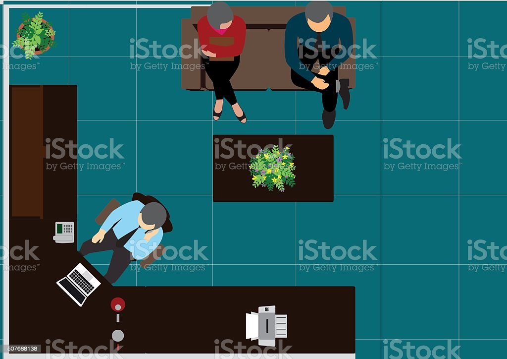 workplace office top view workspace- vector illustration vector art illustration