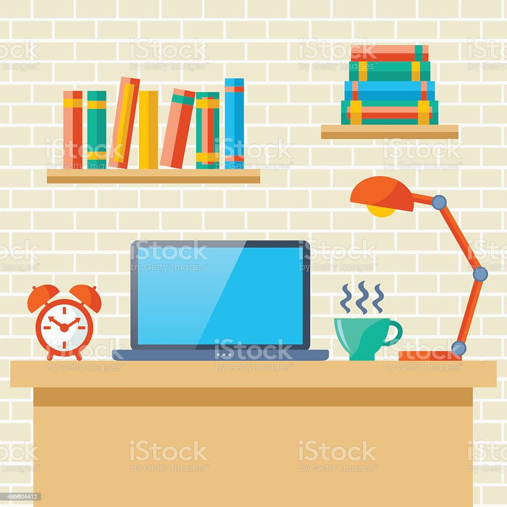 Workplace with a laptop vector art illustration