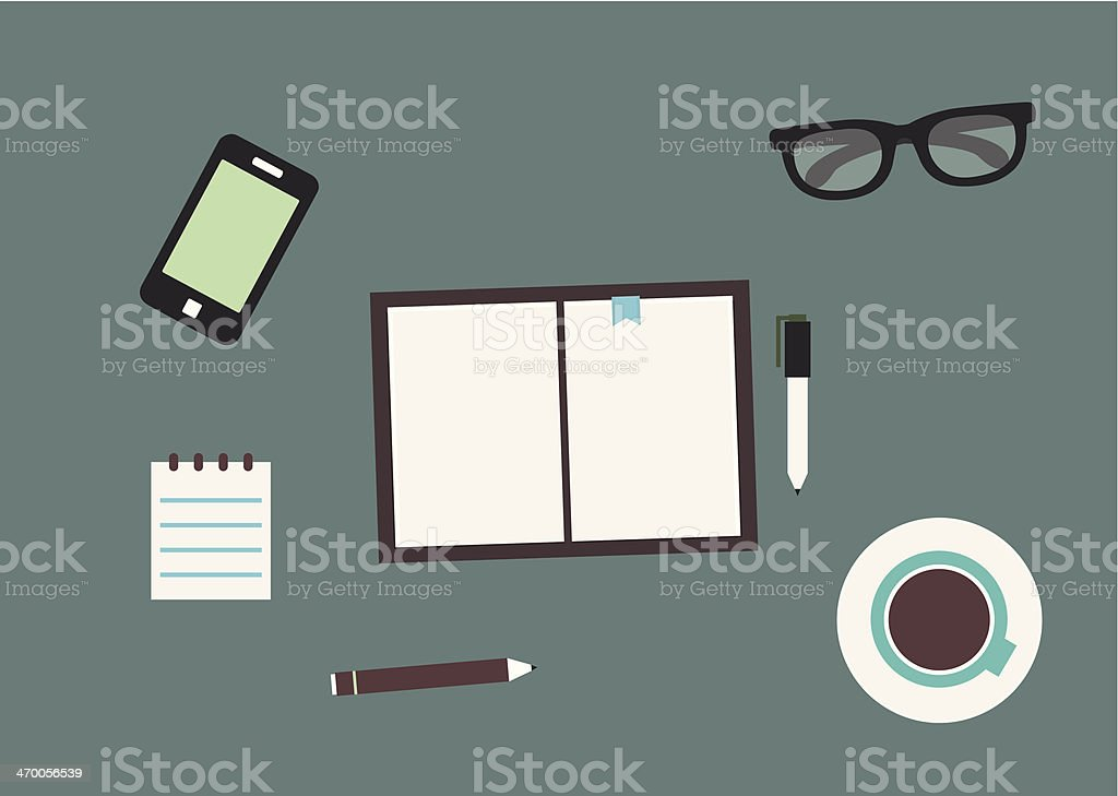 Workplace with mobile device and documents. Flat design style vector art illustration