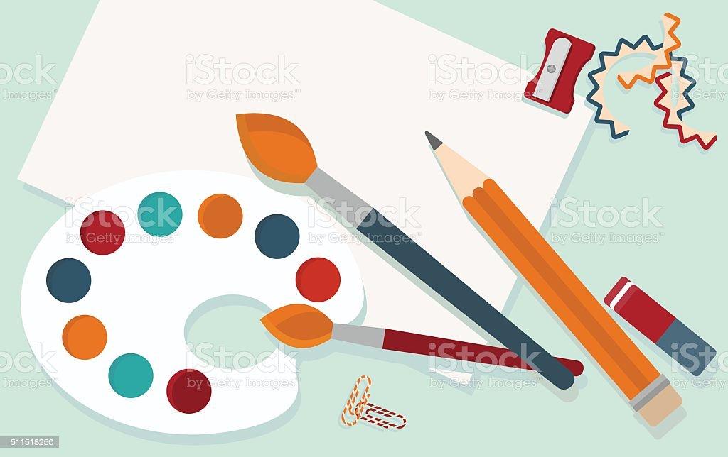 workplace_illustrator_tools_for_draw vector art illustration