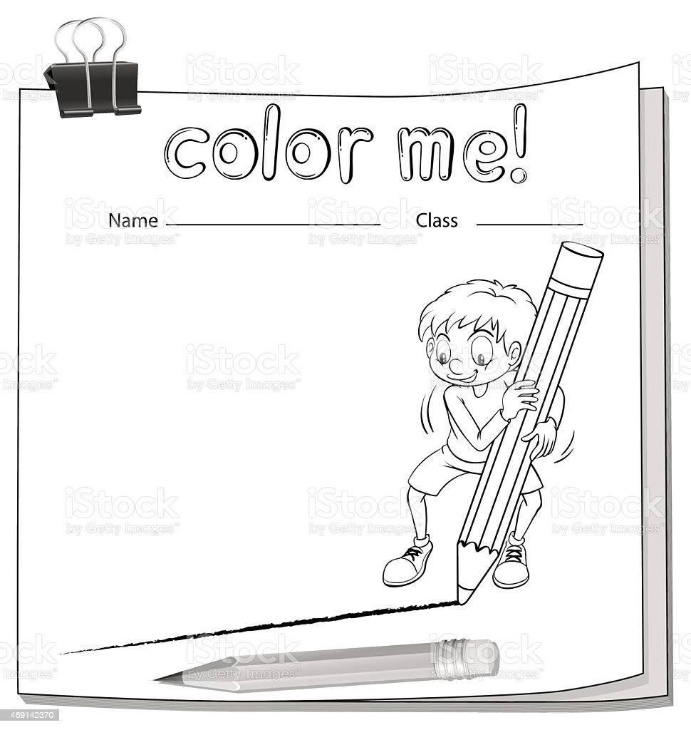 Worksheet showing a boy drawing a line vector art illustration