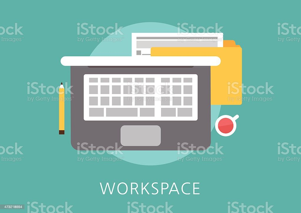 workspace concept flat icon vector art illustration