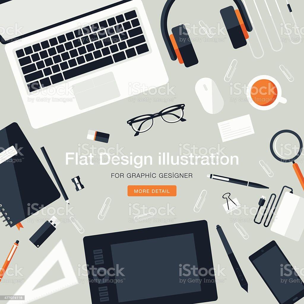 Workspace for graphic designer vector art illustration