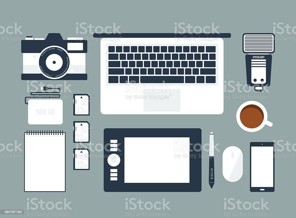 Workspace for Photographer vector art illustration