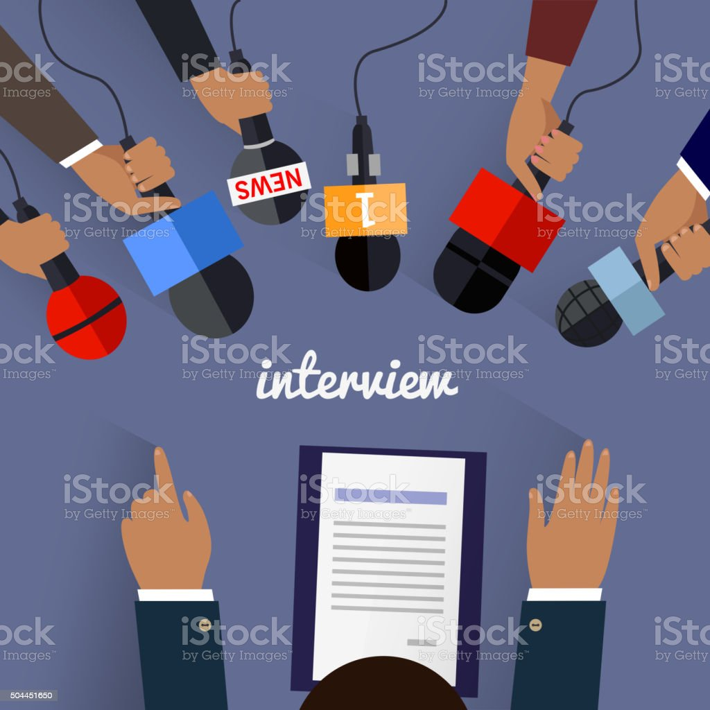 Workspace Interview Design Flat vector art illustration