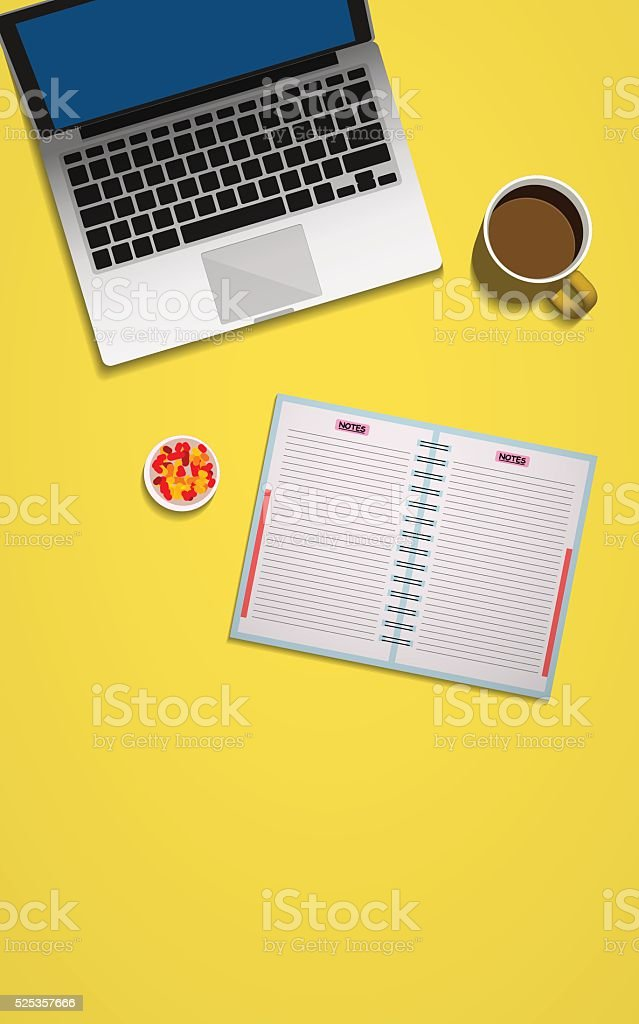 Workspace top view of desk in a flat style vector art illustration
