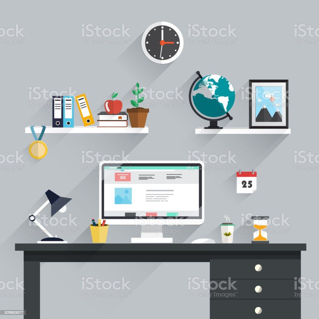 Workspace, workplace icons and elements in minimalistic style and color vector art illustration